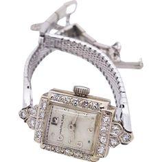 A vintage Hamilton 14k white gold and diamonds ladies watch at rubylane.com @rubylane #vintagebeginshere
