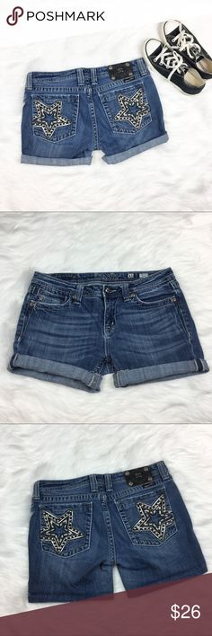 Miss Me Star Struck Cut Off Jean Shorts Miss Me star struck cut off jean shorts. Size 31 and unrolled inseam is 5'. They are cut off bootcut jeans but have been hemmed. Please see picture for quality. Perfect star pocket for 4th of July! ❌No trades ❌ Modeling ❌No PayPal or off Posh transactions ❤️ I 💕Bundles ❤️Reasonable Offers PLEASE ❤️ Miss Me Shorts Jean Shorts
