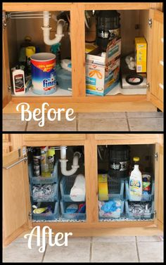Under the sink cabinet organization - An often overlooked place, but organize it and you'll thank yourself later!