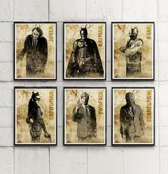 Batman Dark Knight Characters Poster Set / Joker, Catwoman, Bane, Scarecrow etc. #Minimalism