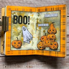 """Kelly Ketteringham on Instagram: """"Journal spread ready for my Halloween journal class using Tim Holtz pumpkinhead CMS398, Halloween Doodles CMS437 and Bold Fright CMS438…"""" Halloween Doodle, Halloween Boo, Happy Halloween, Tim Holtz Stamps, Stampers Anonymous, Trick Or Treat, Vintage World Maps, Doodles, Journal"""