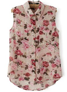 Fashion blouse lapel sleeveless stylish pretty clothes for women Floral Print Shirt, Printed Blouse, Floral Blouse, Floral Chiffon, Floral Shirts, Pink Shirts, Casual Outfits, Fashion Outfits, Blouse Designs