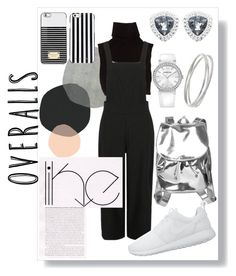 """""""Tricky Trend: Overalls Essentials"""" by shazreenrzl ❤ liked on Polyvore featuring Marc Jacobs, Monki, Swarovski, MICHAEL Michael Kors, NIKE, TrickyTrend and overalls"""