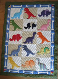 Dinosaur & Bones Twin Quilt New Quilt by SusanCustomQuilts on Etsy, $305.00