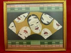 Needlepoint Asian Inspired Faces Fan Handmade Excellent Quality Framed