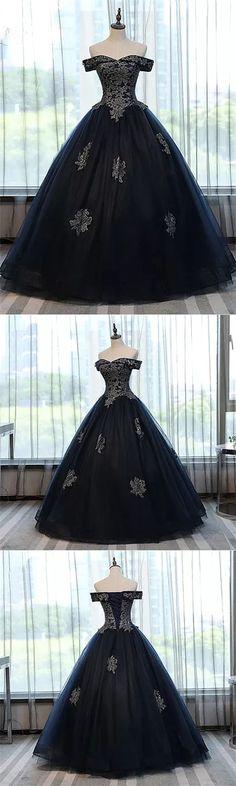 Chic Wedding Dresses Ball Gown Off-the-shoulder Dark Navy Tulle Bridal Gown JKS187#chicweddingdress #weddingdress #wedding #bridalgown #bridalgowns #ballgown #darknavy #Off-the-shoulder #off the shoulder wedding dress