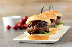 Juicy lamb sliders are grilled and then topped with a sweet and savory rich cherry relish. Top with your favorite cheese and you have an awesome game day snack!