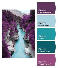 Kaelyn wants dark purple walls with light blue swirls for her walls. Let's see what she thinks of these colors.