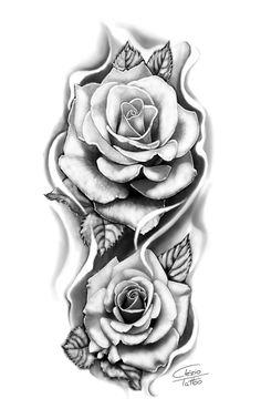 Floral Tattoo Design, Flower Tattoo Designs, Mens Braids Hairstyles, Black White Tattoos, Desenho Tattoo, Rose Art, Rose Tattoos, Beautiful Roses, Adult Coloring