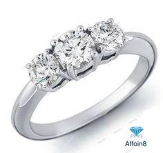 Size 5-12 Lovely Vintage Round Cut Diamond Three Stone Women's Engagement Ring #Affoin8 #ThreeStoneWomensEngagementRing