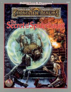 The Secret of Spiderhaunt (2e) - Forgotten Realms | Book cover and interior art for Advanced Dungeons and Dragons 2.0 - Advanced Dungeons & Dragons, D&D, DND, AD&D, ADND, 2nd Edition, 2nd Ed., 2.0, 2E, OSRIC, OSR, d20, fantasy, Roleplaying Game, Role Playing Game, RPG, Wizards of the Coast, WotC, TSR Inc. | Create your own roleplaying game books w/ RPG Bard: www.rpgbard.com | Not Trusty Sword art: click artwork for source