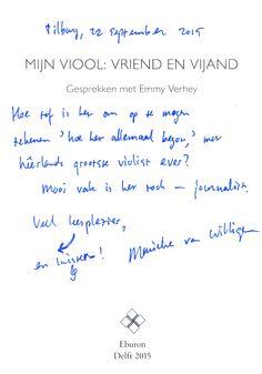 #FHJ-docente Marieke van Willigen schreef het hoofdstuk 'Ad Libitum' in 'Mijn viool: vriend en vijand. Gesprekken met Emmy Verhey'.