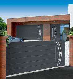 Porte de garage sectionnelle LPU40, porte d'entrée ThermoSafe, portail coulissant Boréal Affinity Line, à motif 457