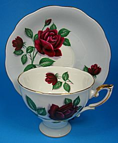 Cup And Saucer Red Velvet Rose Pale Blue Royal Standard. Click the image for more information.