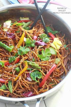 Rainbow Asian Skillet Peanut Noodles