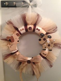 "Homemade Puppy Dog Wreath - checkout ""Wreaths by Tricia"" on Facebook for more custom tulle wreaths!"