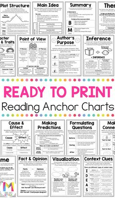 These reading comprehension posters are a life saver! They are a quick and easy resource you can use for your reading lessons and they will help students learn a variety of reading strategies and skills. Reading Lessons, Reading Skills, Writing Skills, Teaching Reading, Math Lessons, Guided Reading Groups, Learning, Reading Comprehension Posters, Reading Strategies Posters