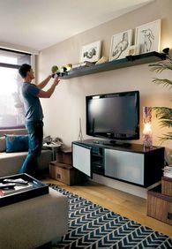 Ikea Lack shelf above tv More. Ikea Lack shelf above tv More. Easy Tips For Dynamic Living Room. Living Room Shelves, Living Room Tv, Apartment Living, Home And Living, Apartment Furniture, Ikea Furniture, Apartment Therapy, Men Apartment, Furniture Storage