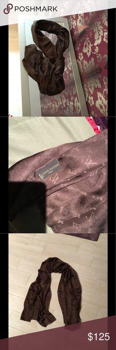 New brown Louis Vuitton monogram 💯% silk scarf Brand new Louis Vuitton monogram silk scarf Louis Vuitton Accessories Scarves & Wraps