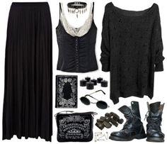 Длинная юбка, майка, свитер, ботинки, сумка, очки, ошейник