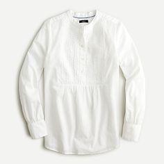 J.Crew: Tuxedo Popover Shirt For Women Classic Tuxedo, The White Album, White Shirts, Cashmere Sweaters, Mens Suits, Organic Cotton, Feminine, Ruffle Blouse, How To Wear