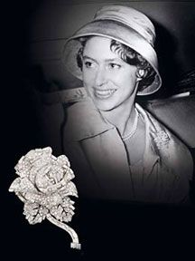 Princess Margaret pictured in 1959 wearing A DIAMOND ROSE BROOCH, BY CARTIER, CIRCA 1955  (copyright Camera Press)