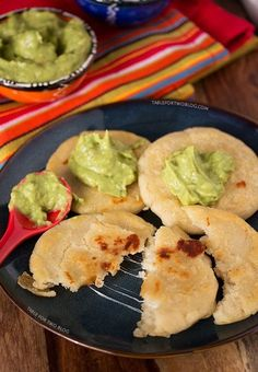 Cheese Pupusas with Tomatillo Avocado Salsa from www.tablefortwoblog.com