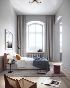 The Lyceum Stockholm apartment development is the latest project by Oscar Properties that sees an old building repurposed into modern day designer living. Home Bedroom, Modern Bedroom, Bedroom Decor, Bedroom Curtains, High Ceiling Bedroom, Floor To Ceiling Curtains, Bedroom Ideas, Floor Lamps, Design Bedroom