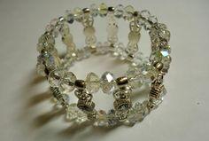 Jewelry Bracelets, Swarovski Crystal Bracelet, Clear Double Stranded by Shabyas on Etsy
