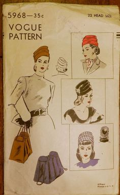 Vintage 1940s Vogue 5968 Sewing Millinery PATTERN Purse BAG Draped HAT 22""