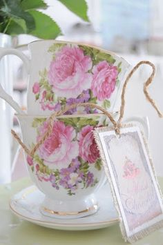 pink rose teacup display idea <3