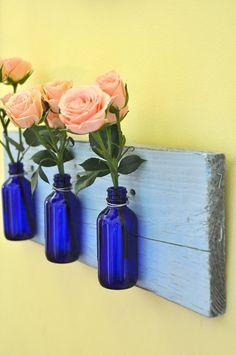 Horizontal wall vases cobalt