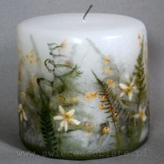 small spring forest candle with ferns, konwaliami and anemones by swieceosobiste.pl