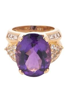 Vintage Estate Jewelry 14K Yellow Gold Amethyst & Diamond Ring - Size 8