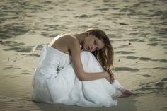 Kamila on the beach - Blonde beauty girl in wedding dress on the beach