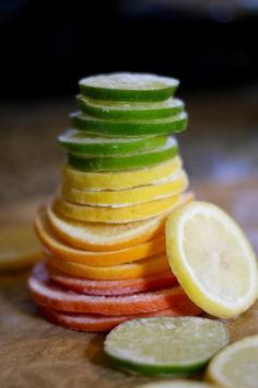 Fruit water: These frozen citrus wheels are so much fun and make tasty water with ease. They also float while frozen, making your drink just as beautiful as it is delicious. Frozen grapefruit, lemons, limes, oranges. Find out how easy these are to make! Find out why. www.StyleBlueprint.com