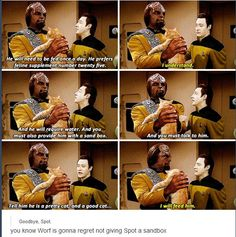 Data, Worf, and Spot