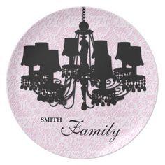 Shabby Cherub Chandelier Silhouette PINK Plates #zazzle #silhouette #plates #chandelier