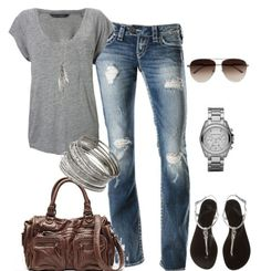 comfy tee, jeans, sandals, aves, and leather bag