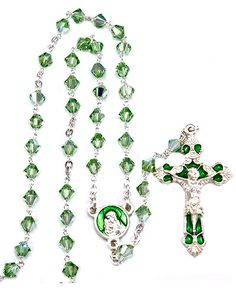 Green #Swarovski #Crystal multifaceted beads with silver finish links and clasp, Green enameled Madonna and Child center and an oxidized Green enameled #Crucifix. Made in #Italy.(sku 4-1521g)