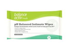 Freshen up with pH Balanced Intimate Wipes!  These wipes have a unique formulation with Lactic Acid to help prevent Bacterial Vaginosis. Proven to reduce odour, the wipes leave you feeling clean and fresh and are ideally balanced at a pH of 4.5. The wipes benefit from being paraben and fragrance free and are flushable. #women #womenshealth #health