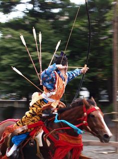 Yabusame - traditional Japanese horseback archery - performed at theTsurugaoka Hachiman-gūinKamakura, Japan