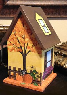 Autumn Painted Birdhouse Personalized Fall by PaintBrushedBoutique