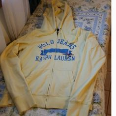 REDUCED--- RALPH LAUREN SWEAT JACKET Yellow with blue lettering, flowers are embroidered. Accepting offers!! Ralph Lauren Jackets & Coats