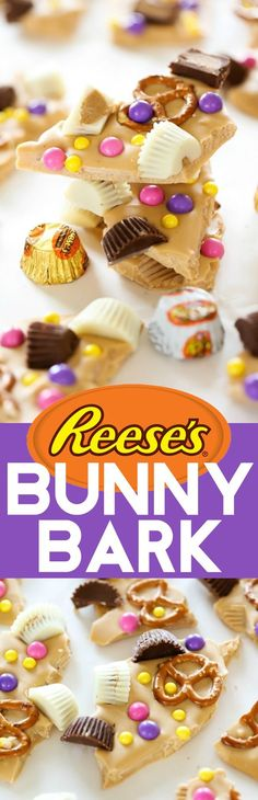 """REESE'S Chocolate Peanut Butter """"BUNNY BARK""""... A simple and delicious chocolate and peanut butter bark. It is smooth chocolate with a delicious salty crunch from pretzels. This is sure to be a hit with all who try it! #sponsored"""