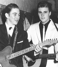 Ricky Nelson and his band from the LTR: James Burton (was with Ricky long before he joined up with Elvis), Ricky Nelson, Ritchie Frost and James Kirkland. James Burton, Ricky Nelson, Rock And Roll, Rockabilly Music, Scott Baio, Celebrities Then And Now, Rick Y, Family Tv, Perfect Boy