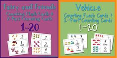 2 Counting Card Sets - Fairy themed and Vehicle Themed!