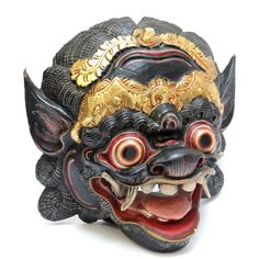 Balinese Barong Mask - Vintage Polychrome Handpainted Carved Wooden Mask - Indonesian Home Guard, Interior Decor, Wall Sculpture, Home Guard Talisman Mask at VintageArtAndCraft