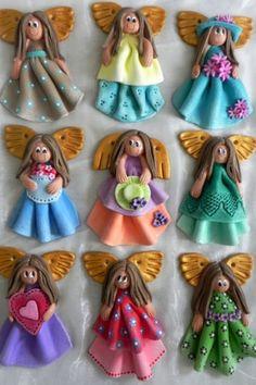 Handmade angels Salt Dough Projects, Salt Dough Crafts, Salt Dough Ornaments, Clay Ornaments, Polymer Clay Dolls, Polymer Clay Projects, Clay Angel, Clay People, Handmade Angels