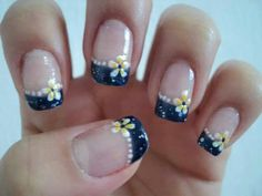 navy+blue+french+manicure | Navy blue french with yellow flowers. | Nail Art I love
